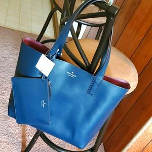 Kate Spade reversible leather tote petrol …